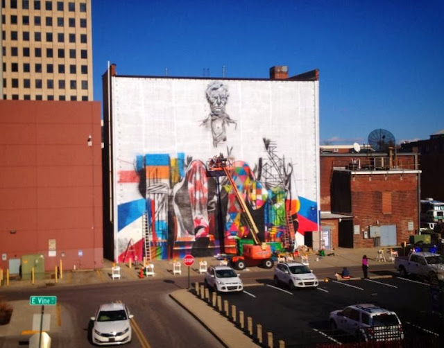 """Lincoln"" New Street Art Mural By Brazilian Artist Eduardo Kobra In Lexington, Kentucky. 3"