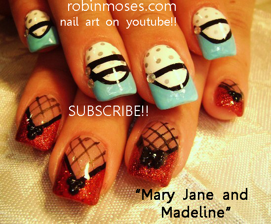 Mary Jane Light Blue And Black Nail Red Glitter Nail Black Fishnet