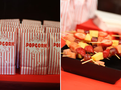 Popcorn and fruit skewers