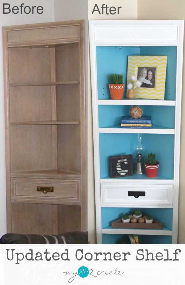 I love how this Updated Corner Shelf was transformed with simple touches like raised stencil decals, trim, and paint.