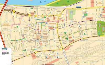 plan de Saint-Pierre-des-Corps avec zones limitées à 30km