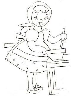 Riscos para pintura de meninas trabalhadoras