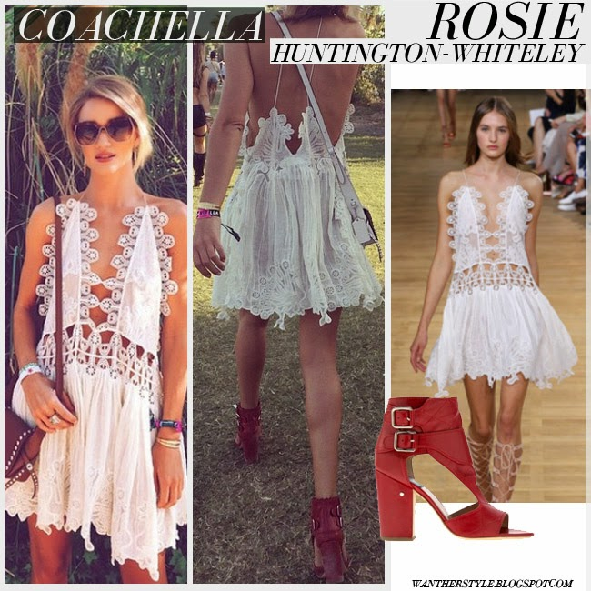 Rosie Huntington-Whiteley in white crochet mini Chloe SS15 dress at Coachella festival april 2015 what she wore