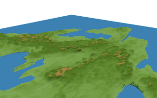 Feorad Isle, Calidar 3D view, pre-erosion terrain design, Lambert Conformal Conic Projection