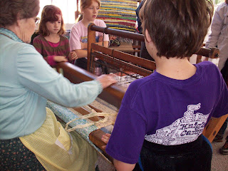 Weaving on a real loom!