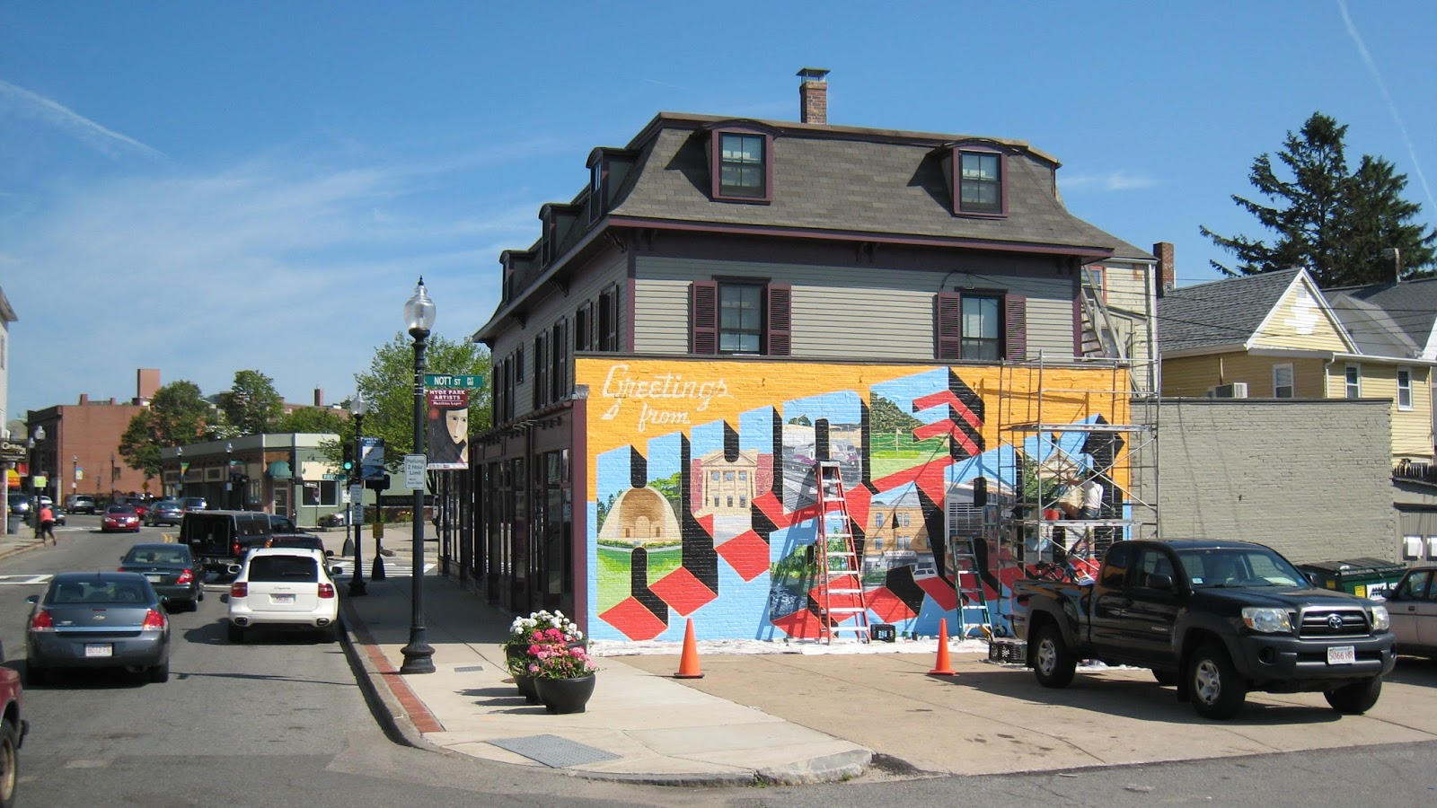 Inside historic boston inc the vertullo building mural for Construction mural