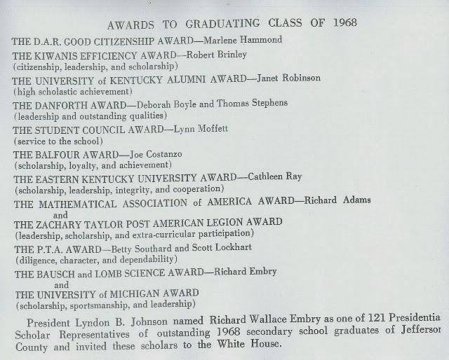 Graduation Honors, 1968
