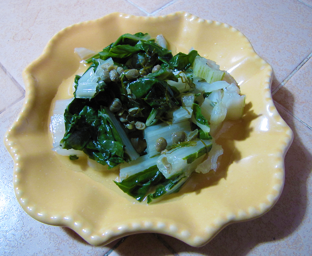 Plate of Chard Topped with Lemon Sauce