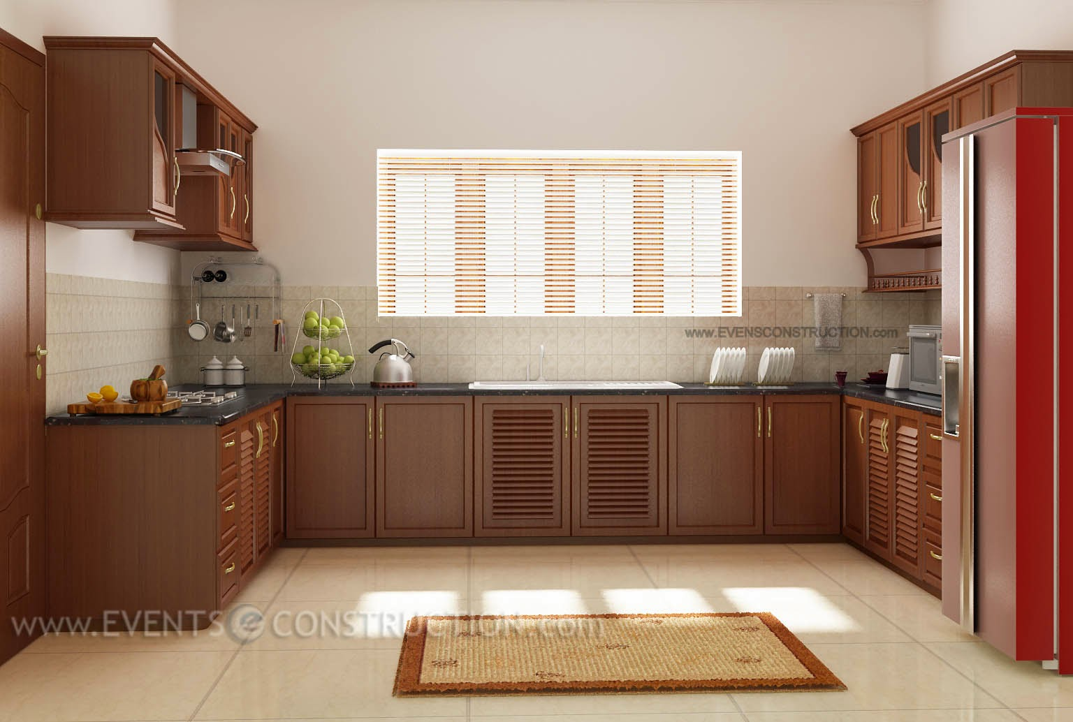 Evens construction pvt ltd interior of a kerala kitchen for Kerala style kitchen photos