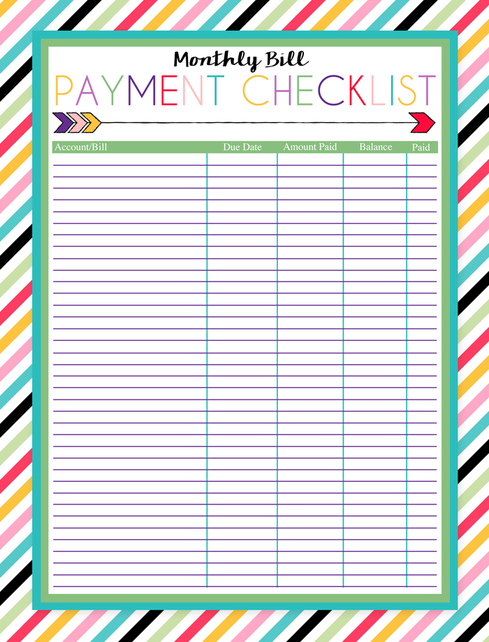 Monthly Bill Payment Worksheet Pictures to Pin – Bill Calendar