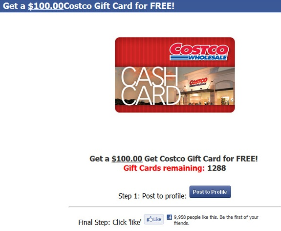 get costco gift card for free limited time only latest facebook scam 39 costco is currently. Black Bedroom Furniture Sets. Home Design Ideas