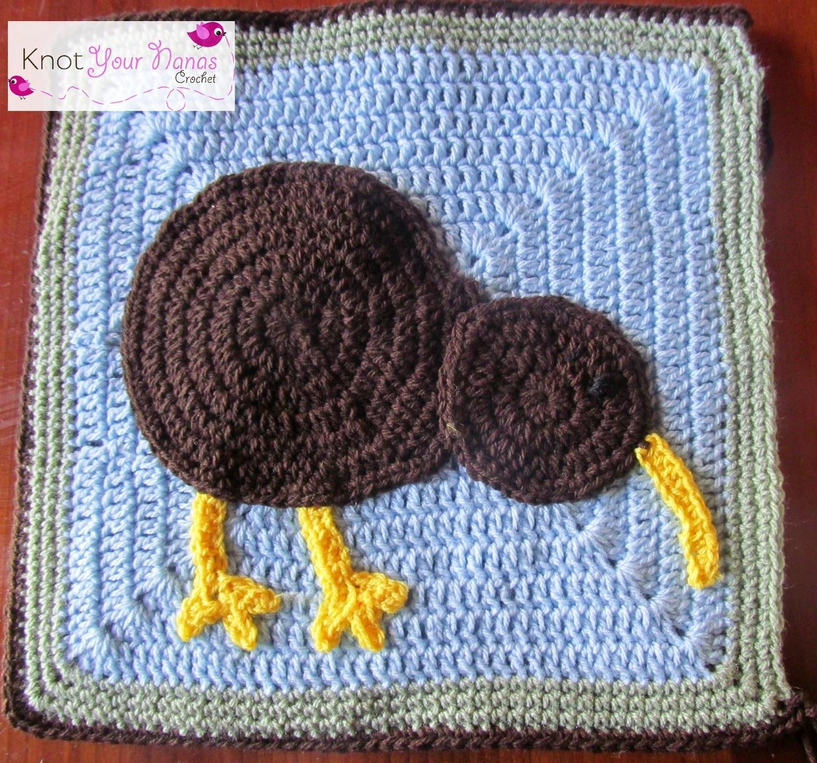 Knot Your Nana\'s Crochet: Kiwi Applique and Pillow Pattern