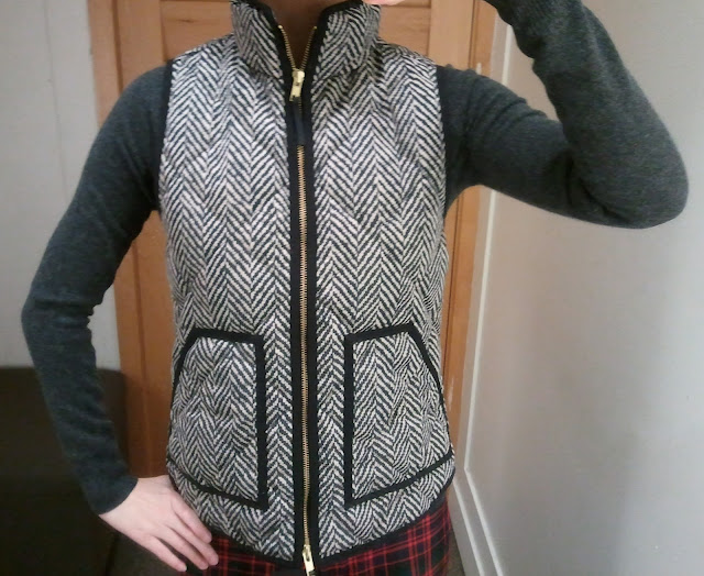 J. Crew Excursion Quilted Vest in Herringbone
