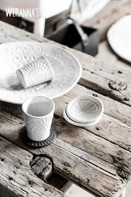 Petras lera ceramics, handmade, lace