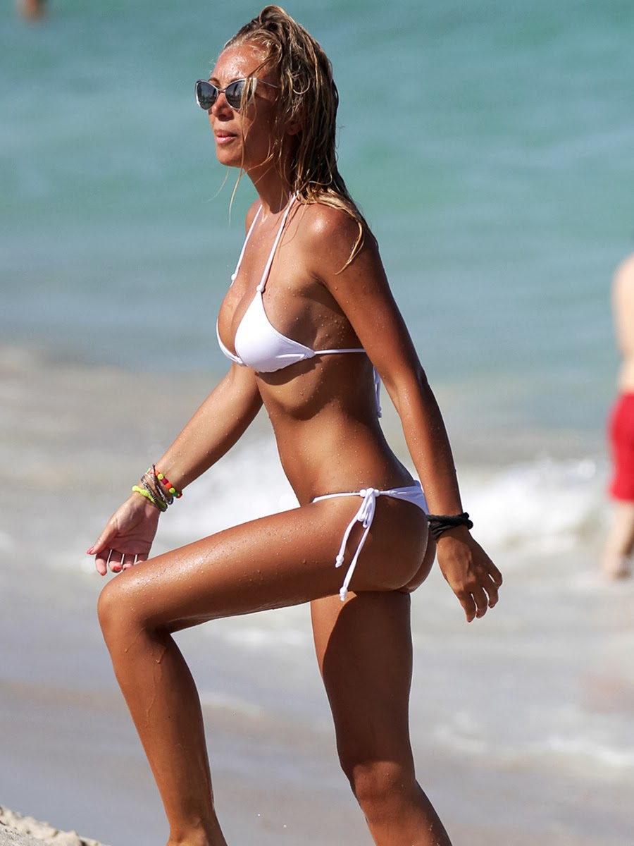 Laura Cremaschi white bikini in Miami