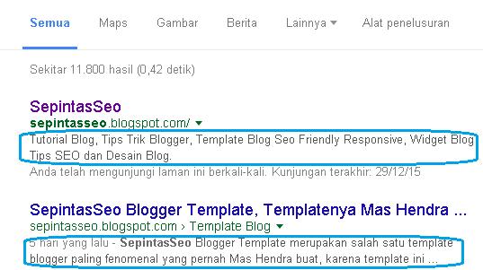 Cara Memasang Meta Deskripsi Blogger Yang Paling Benar