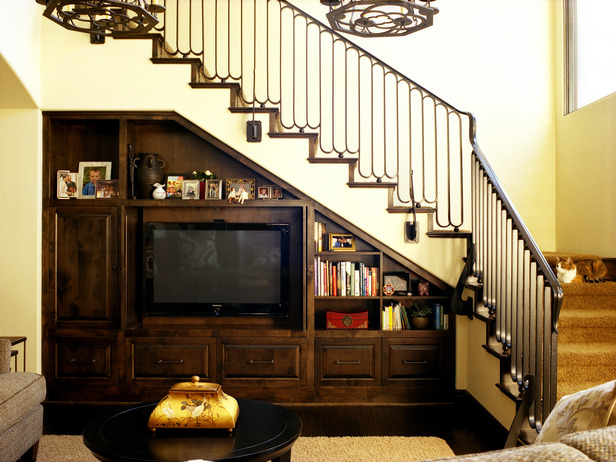 Living Room Under Stairs Built in Entertainment Center