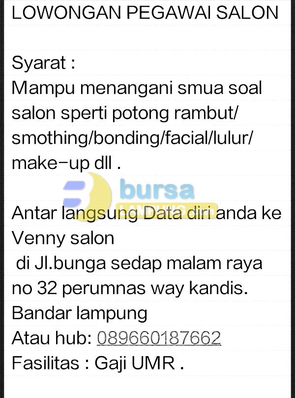 Lowongan Kerja Venny Salon Lampung