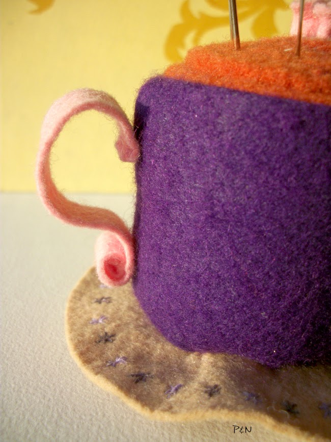 Pumps and Needles: teacup pincushion detail
