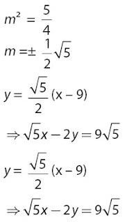 Persamaan garis singgung melalui titik (9, 0) pada lingkaran x2 + y2 = 36