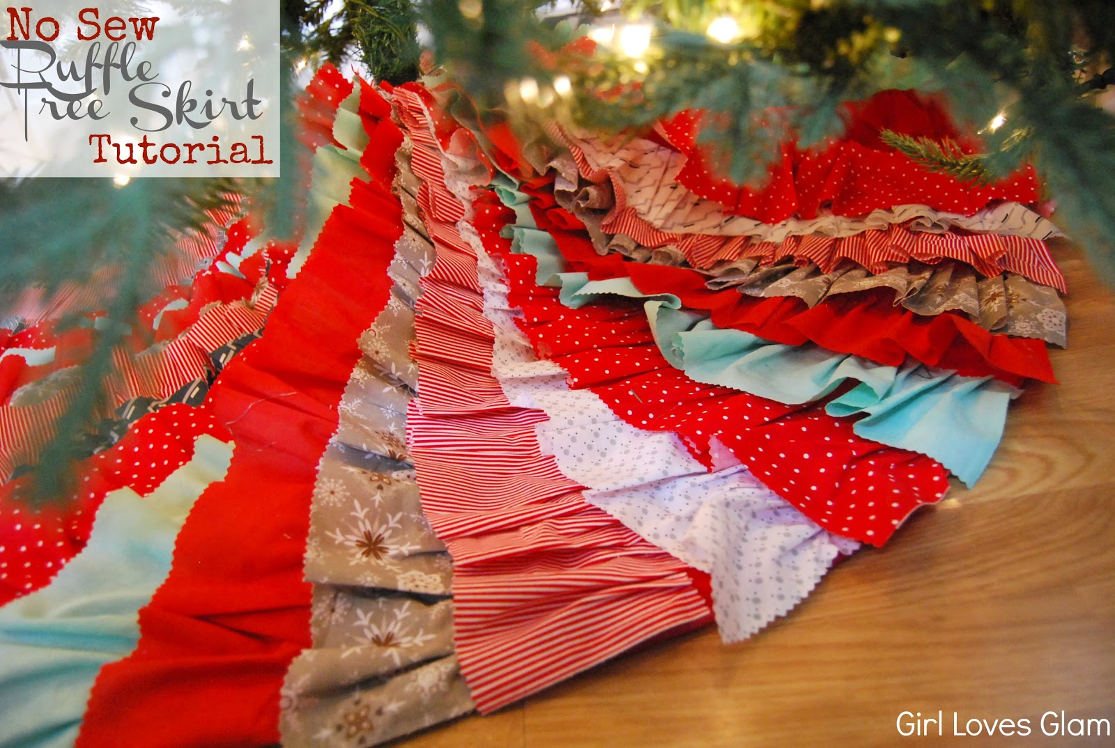 No Sew Ruffle Tree Skirt Tutorial(ish) - Girl Loves Glam