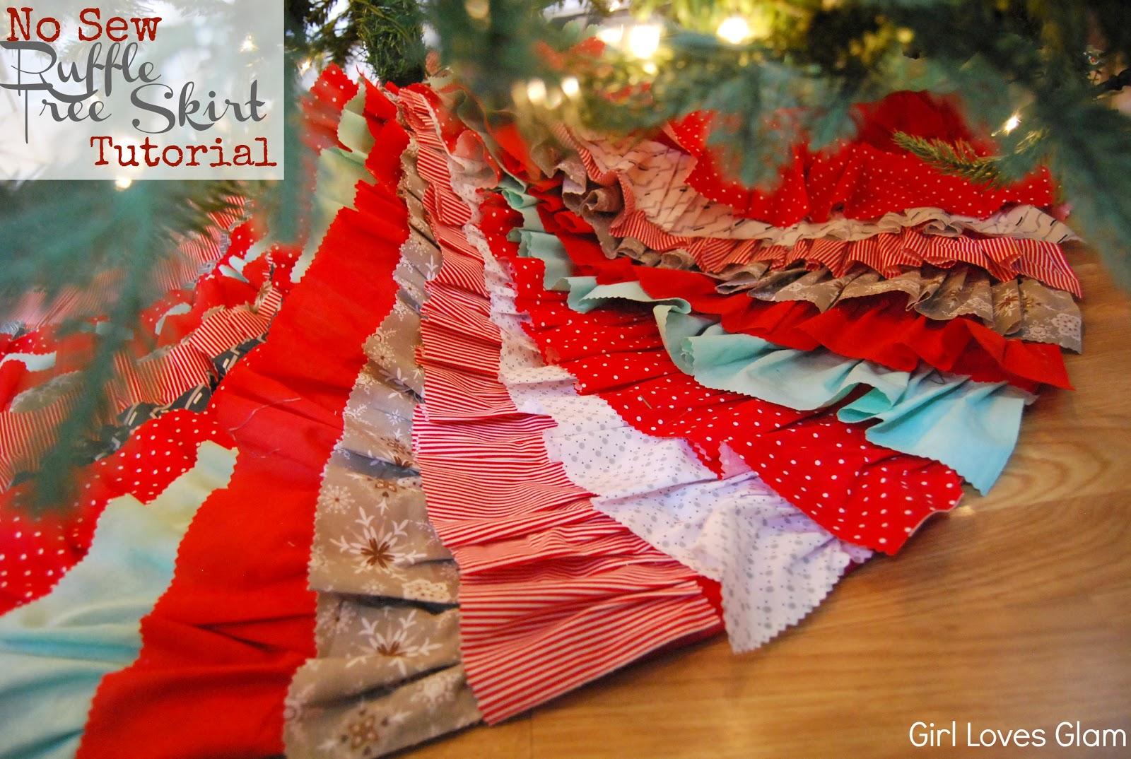 No sew ruffle tree skirt tutorial ish girl loves glam