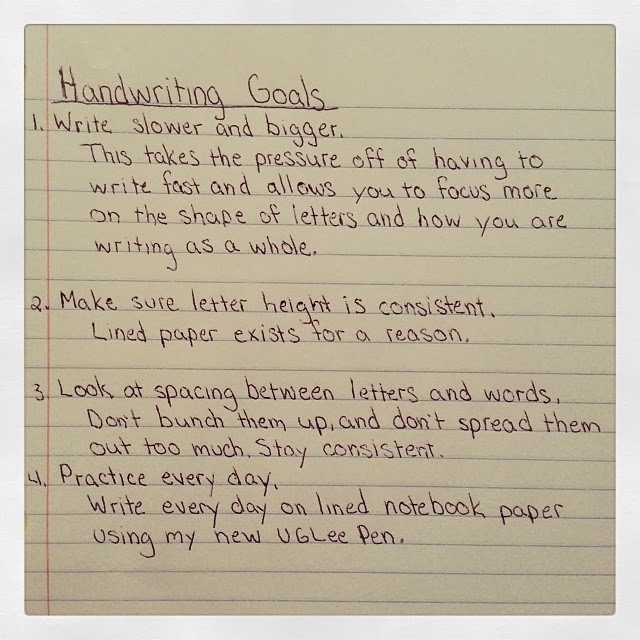 Handwriting goals