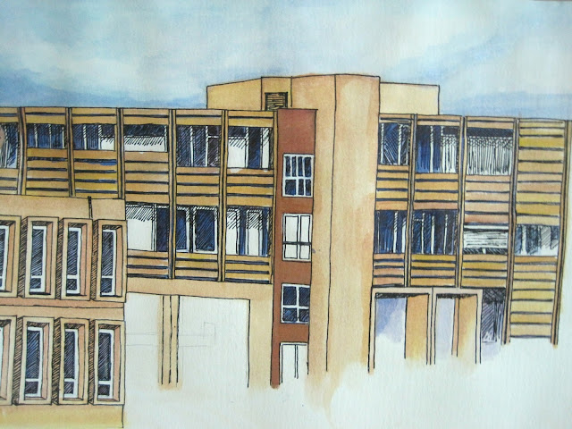 Painting of Eric Williams Medical Sciences Complex