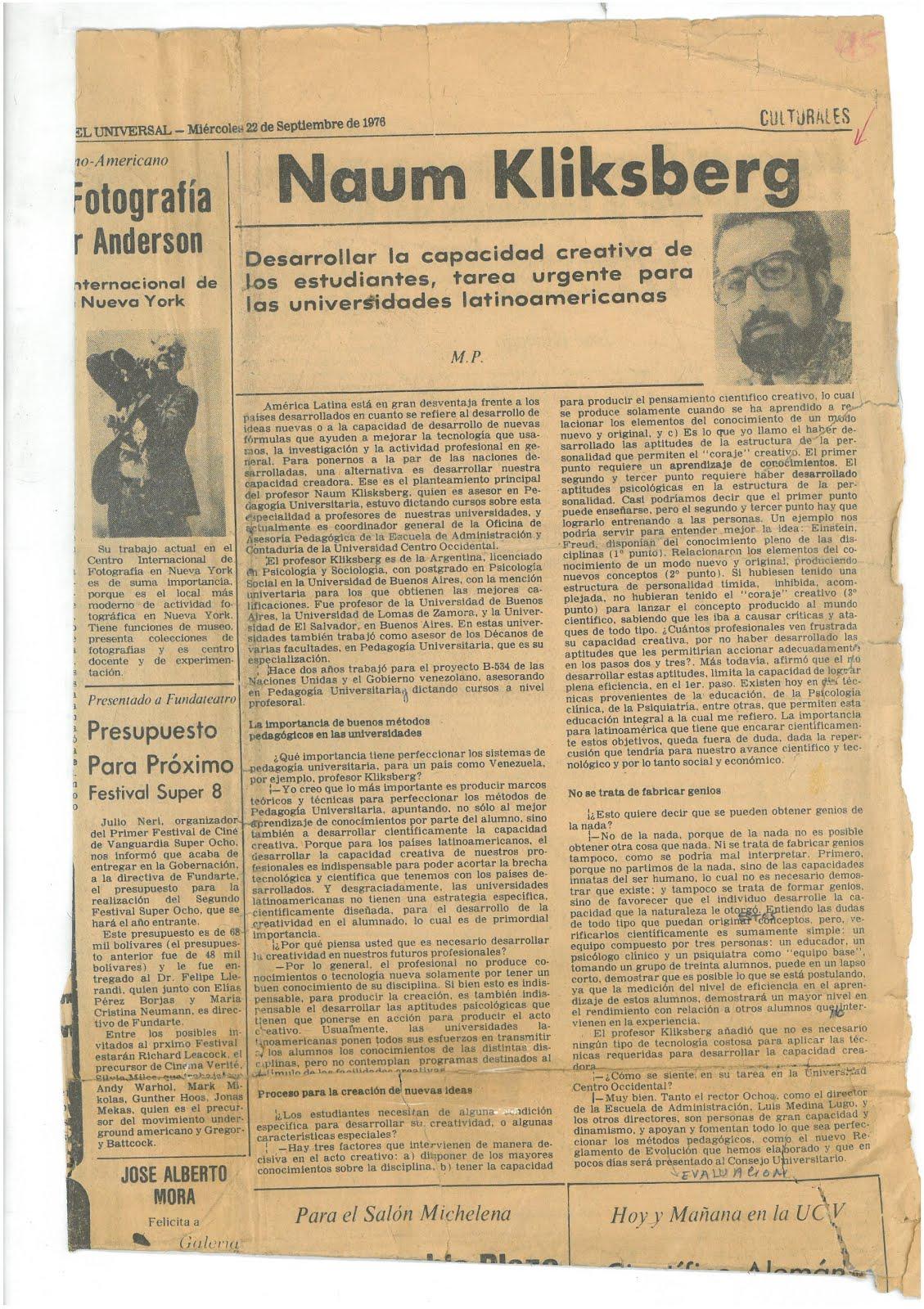 13 -PERIODICO EL UNIVERSAL (el más importante de Venezuela) REPORTAJE A NAUM KLIKSBERG, 22/9/1976