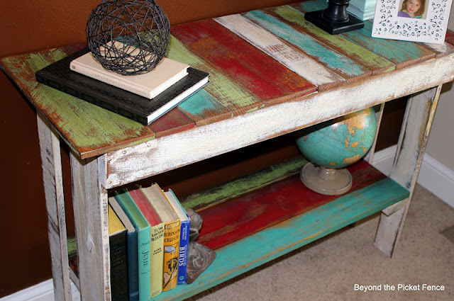 Pallet Sofa Table, Reclaimed Wood http://bec4-beyondthepicketfence.blogspot.com/2012/03/palatable.html