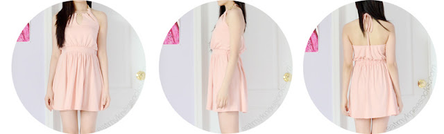 Front, side, and back views of the simple, cute pastel pink chain halter dress from WalkTrendy.