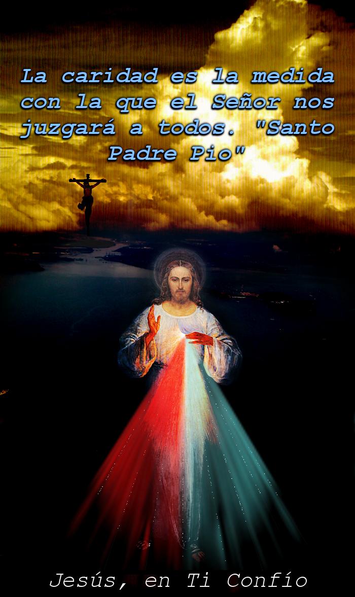 diseño de jesus misericordiso con letras azules hablado de caridad