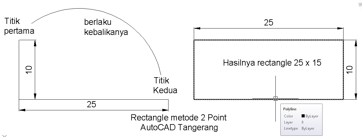 Membuat Rectangle Dalam AutoCAD.