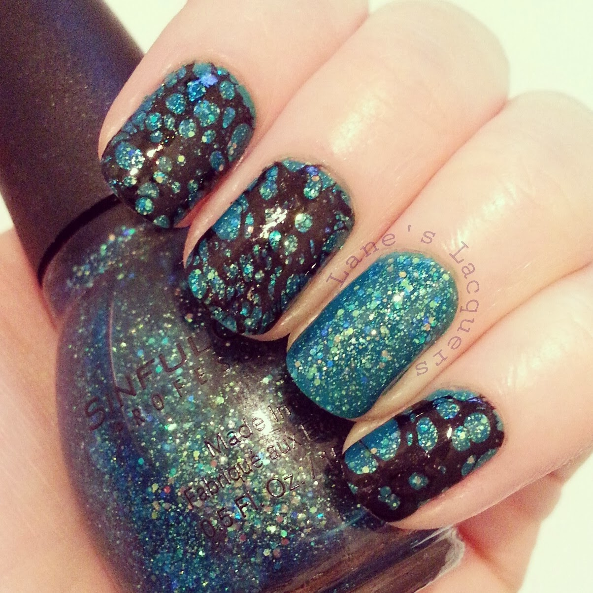 sinful-colors-nail-junkie-black-water-spotted-nails