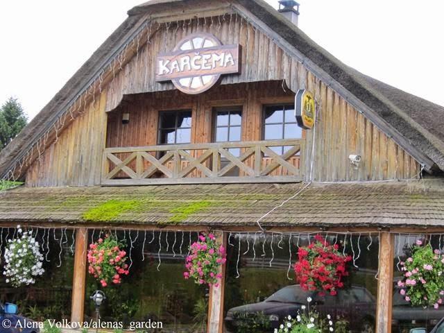 корчма в Литве, деревенский стиль, герань в кашпо, растения в подвесных кашпо