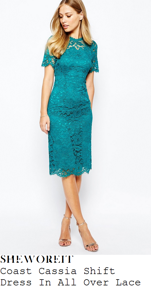 holly-willoughby-green-floral-lace-pencil-shift-dress-this-morning