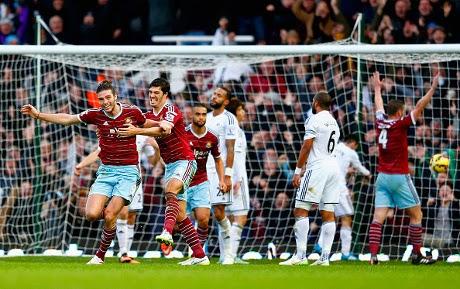 West Ham Gasak Swansea 3-1