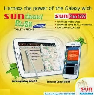Sun Cellular offers Samsung Galaxy Note 8.0 + Samsung Grand Free @ Plan 1799