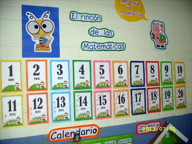 Los niños de mi clase aprenden los primeros números en castellano y