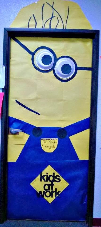 diy despicable me minion bulletin board door decoration for a classroom - Classroom Door Decorations