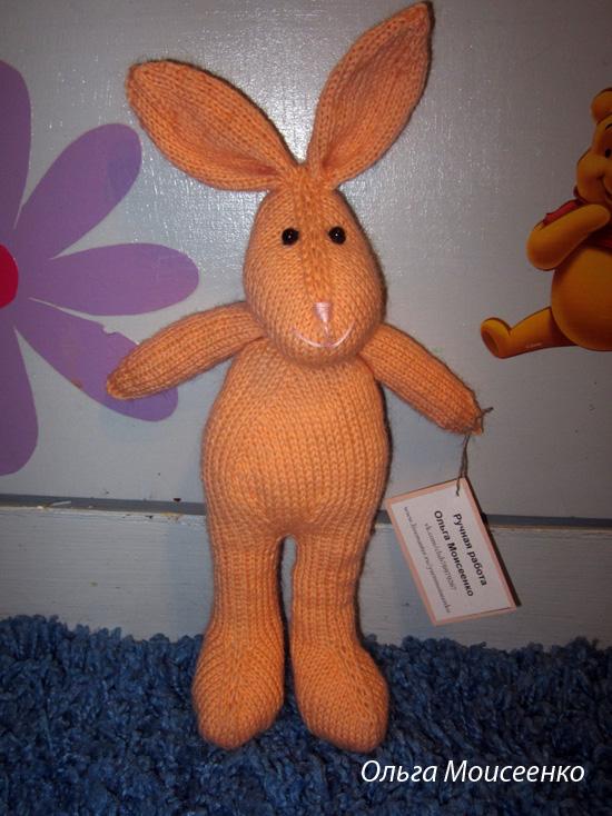 зайчонок, игрушка-зайка, заяц спицами, вязаная игрушка