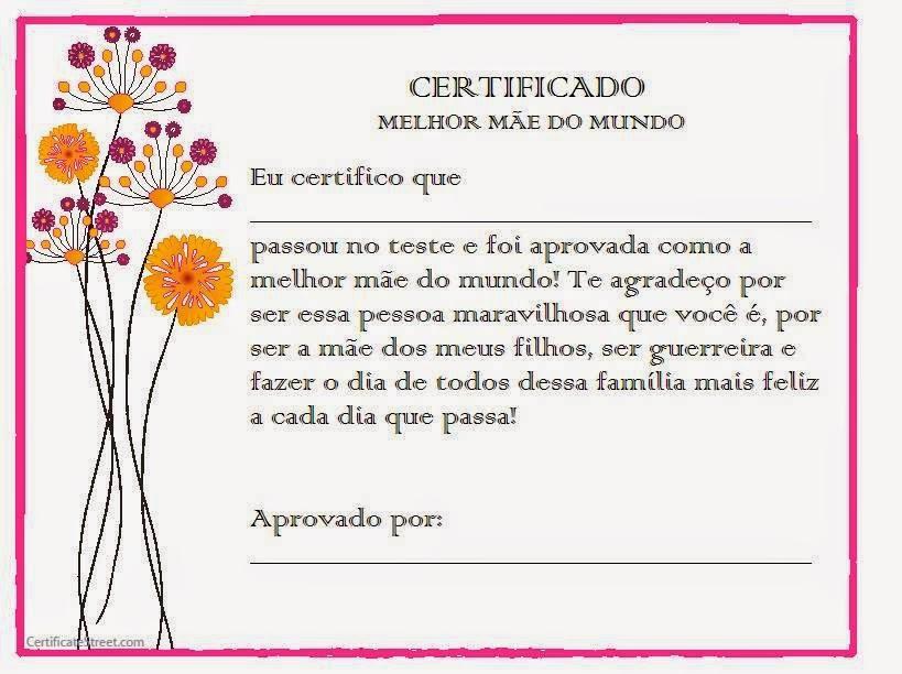 Frases De Amor Certificado De Melhor Mãe Do Mundo