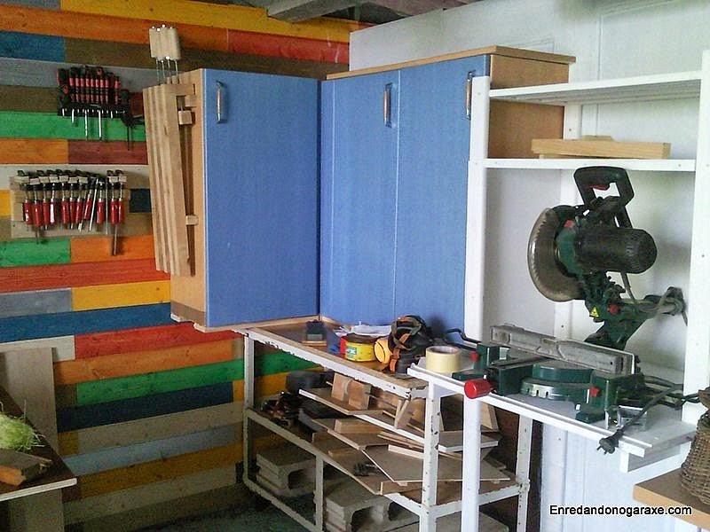 Pared del taller y armario de ingletadora ya pintados. www.enredandonogaraxe.com