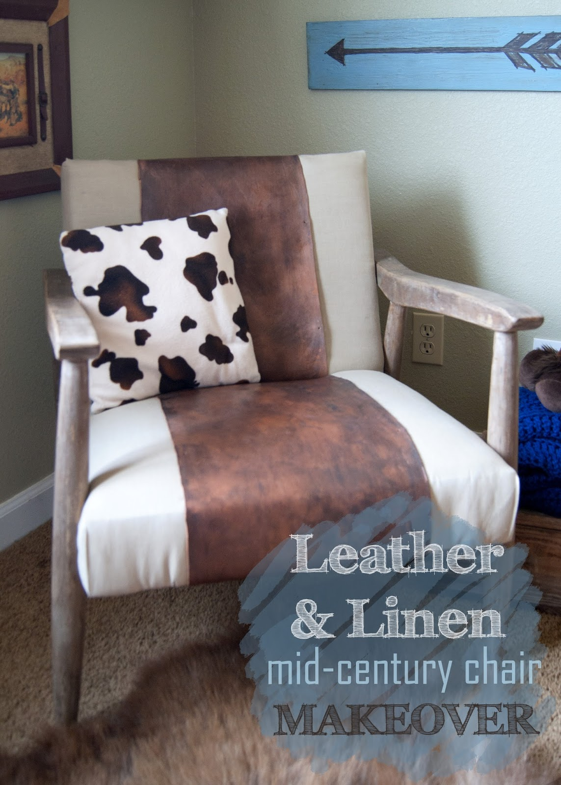 Mid century chair - leather, linen and cow print pillow