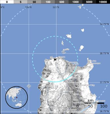 Epicentro sismo 5,6 grados , Luzon, Filipinas, el 07 de Octubre 2012