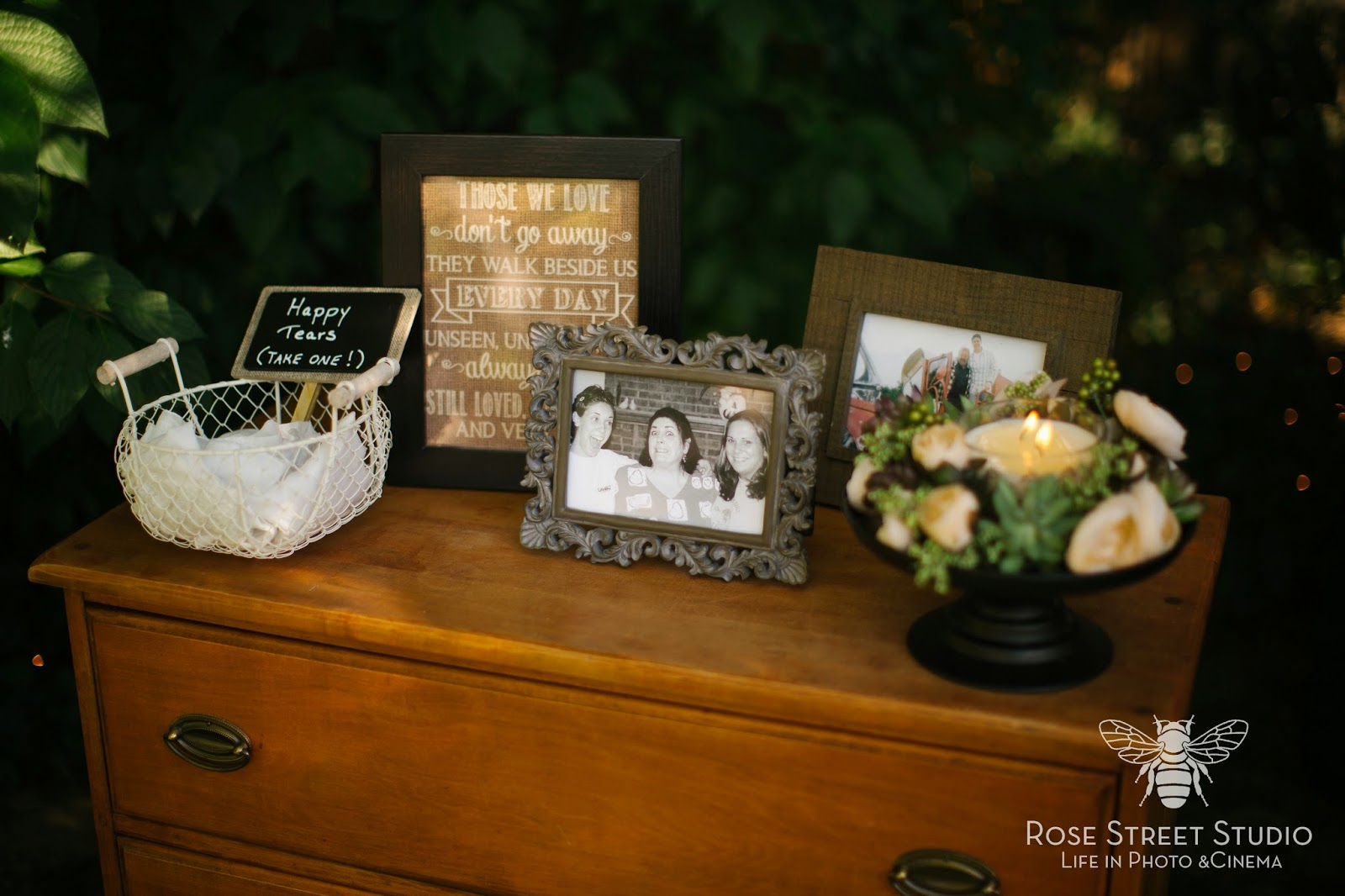 Memorial table to remember those who will be missed at the wedding l Rose Street Studio l Take the Cake Event Planning