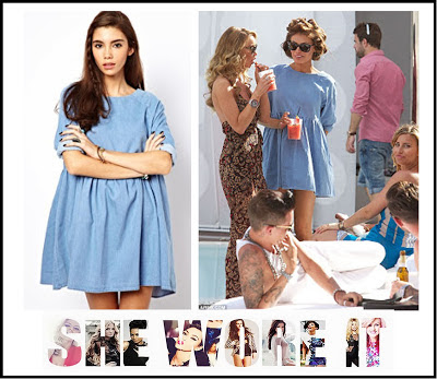 3/4 Sleeve, ASOS, Blue, Chloe Sims, Denim, Denim Dress, Dress, Mini Dress, Oversized, Pleated, Swing Dress, The Only Way Is Essex, TOWIE,