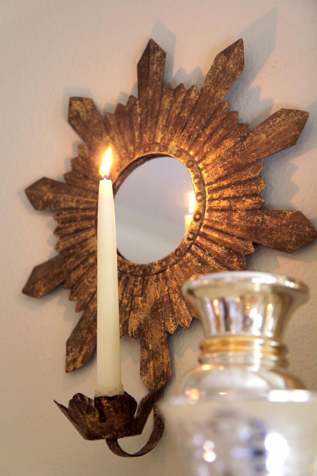 Sunburst Candle Mirror for Home Decor: Wisteria