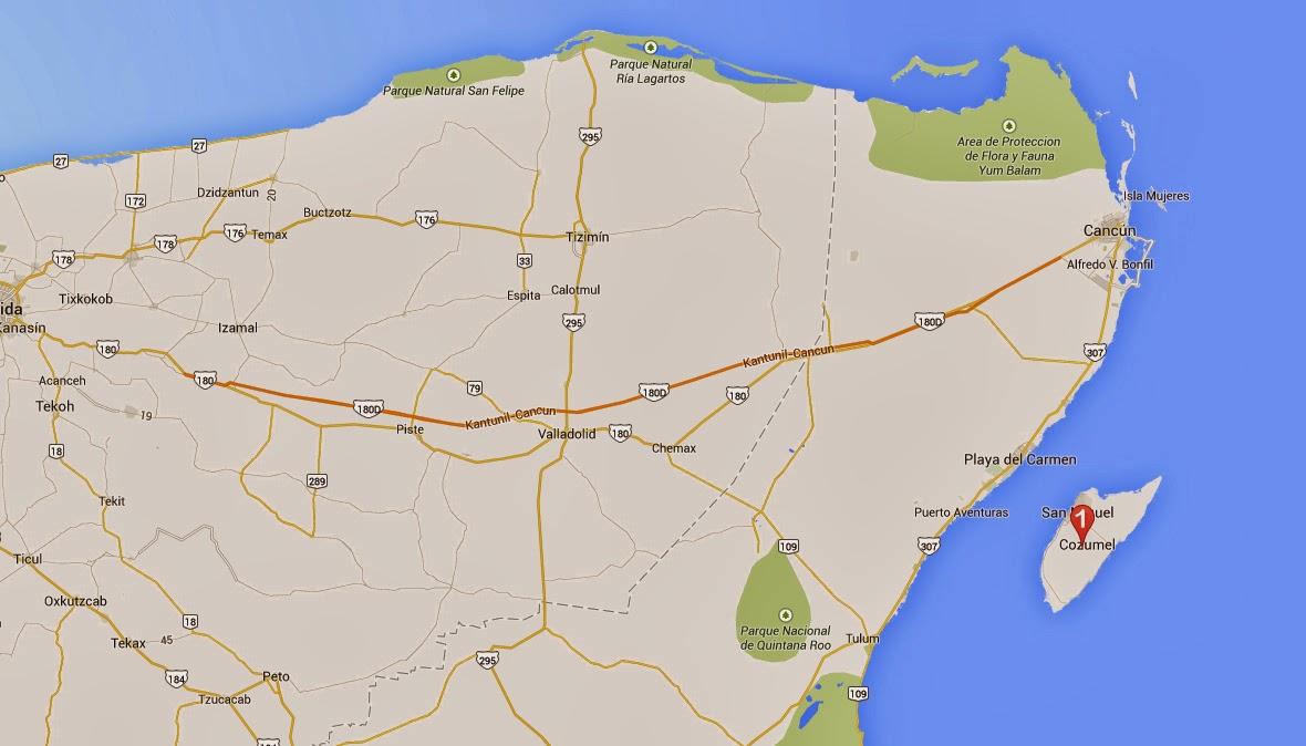 Mapa día 5, viaje a la Riviera Maya, México