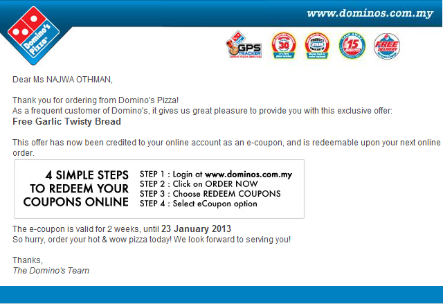 Dominos coupons nx